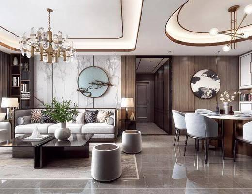 沙发组合, 墙饰, 餐桌, 摆件, 置物柜