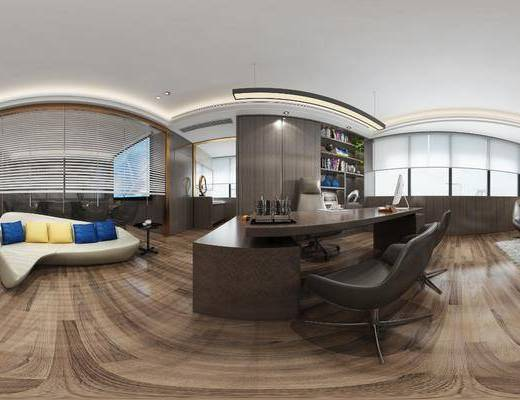办公室, 工装全景, 办公桌椅组合, 书柜, 书籍, 摆件组合, 现代