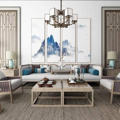 沙發組合, 多人沙發, 邊幾, 臺燈, 單人沙發, 茶幾, 落地燈, 吊燈, 風景畫, 組合畫, 茶具, 裝飾品, 陳設品, 新中式