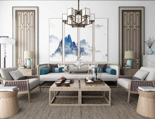 沙发组合, 多人沙发, 边几, 台灯, 单人沙发, 茶几, 落地灯, 吊灯, 风景画, 组合画, 茶具, 装饰品, 陈设品, 新中式