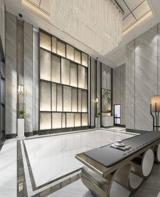 新中式办公前厅, 前厅, 大理石, 接待台, 水晶吸顶灯