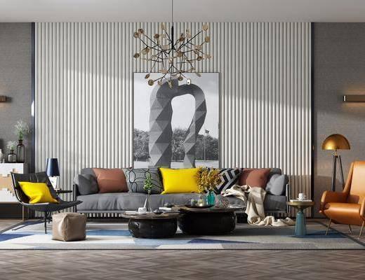 沙发组合, 多人沙发, 茶几, 边几, 落地灯, 台灯, 单人沙发, 装饰画, 挂画, 吊灯, 边柜, 摆件, 装饰品, 陈设品, 现代
