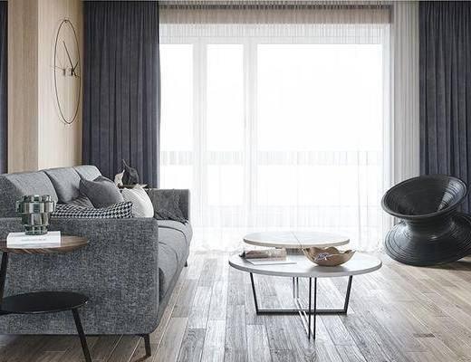 沙发组合, 茶几, 单椅, 窗帘, 边几, 摆件