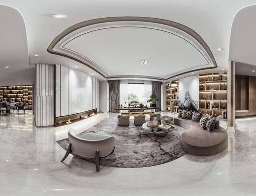 弧形沙发, 茶几组合, 餐桌椅组合, 书柜, 泡茶桌椅, 窗帘, 摆件, 装饰品