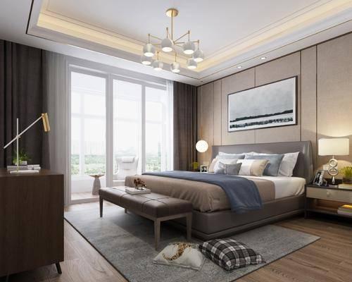 现代卧室, 现代床具, 床尾踏, 现代吊灯, 台灯, 床头柜, 挂画, 装饰柜