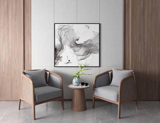 圈椅, 休闲椅, 单椅, 装饰画, 边几, 花瓶