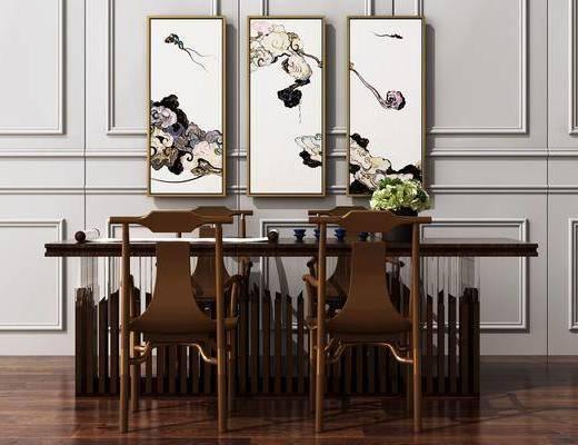 新中式, 辦公桌, 桌椅組合
