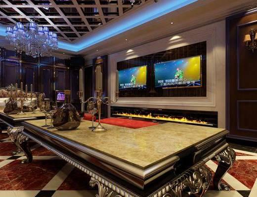 KTV包间, L型茶几, 造型电视墙, 沙发, 点歌台, 金属花格, 吊灯, 简欧