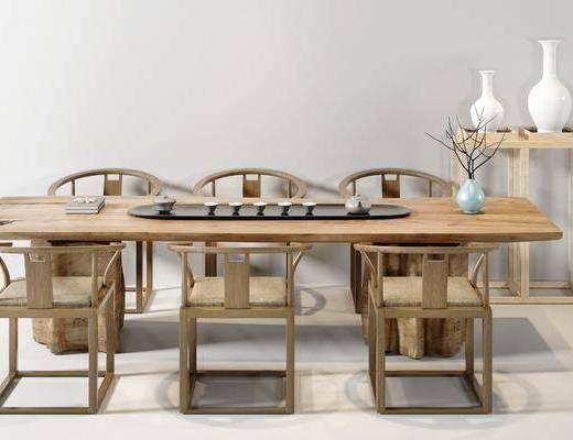 茶桌, 单人椅, 装饰架, 摆件, 装饰品, 陈设品, 新中式