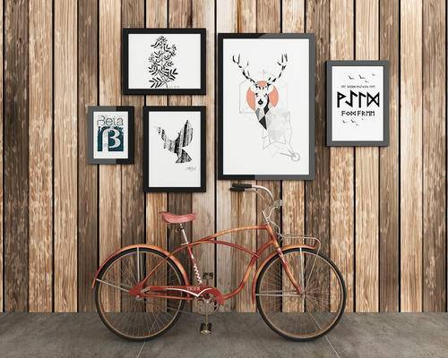 自行车, 单车, 工业风, 装饰画, 挂画
