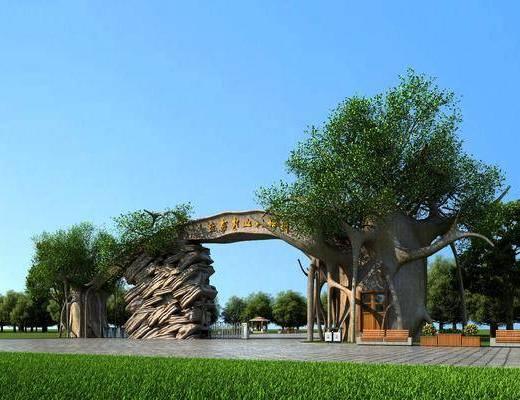 生态公园, 园林大门, 景区, 树木, 绿植植物, 草地, 现代
