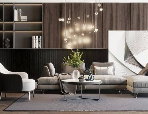 沙发组合, 沙发茶几组合, 装饰柜组合, 摆件组合, 现代