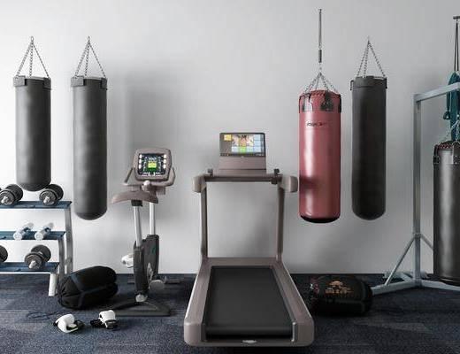 拳击, 沙袋, 动感单车, 运动器械