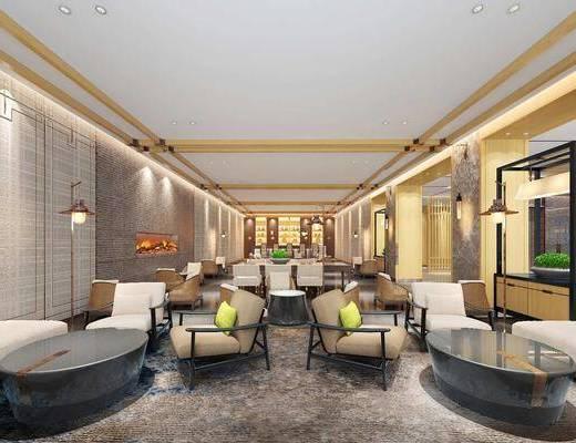酒店大堂, 大堂大厅, 桌椅组合, 沙发组合, 吊灯组合, 现代