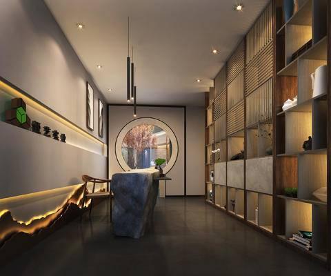 前台, 门厅, 展示柜, 展示架, 灯, 摆件, 装饰品