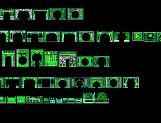CAD, 中式, 隔断, 模块