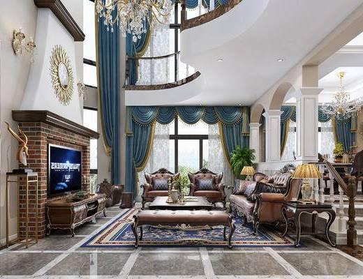 欧式别墅客厅餐厅, 沙发, 茶几, 电视柜, 餐桌椅, 旋转楼梯, 茶台, 茶具, 吊灯, 台灯, 景假山