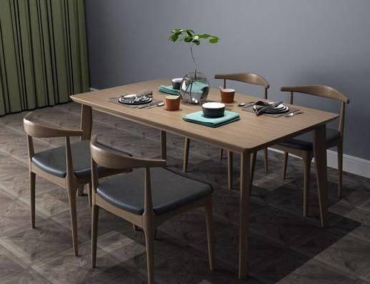 中式餐桌, 餐桌椅, 桌椅组合
