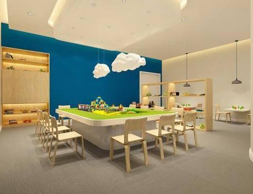 儿童教室, 桌子, 单人椅, 装饰架, 吊灯, 装饰柜, 摆件, 玩具, 装饰品, 陈设品, 云朵灯, 现代