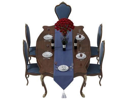 餐桌, 餐椅, 单人椅, 餐具, 欧式
