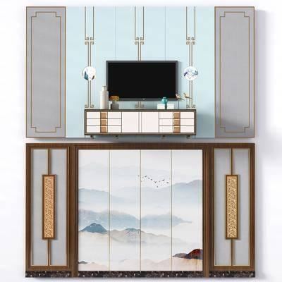 电视机, 墙面, 电视柜, 边柜, 摆件组合, 背景墙, 新中式