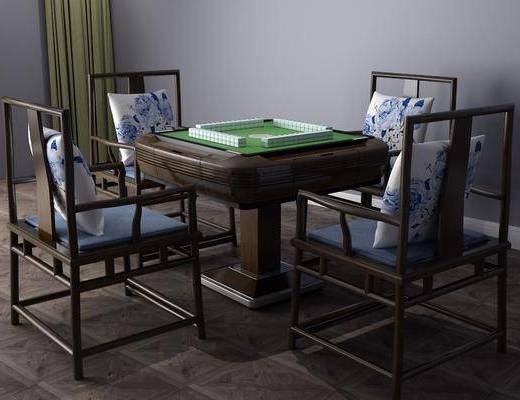新中式麻将桌, 麻将桌, 桌椅组合