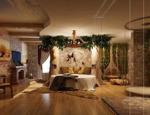 酒店客房, 圆床, 书桌, 单人椅, 植物墙, 现代, 吊椅