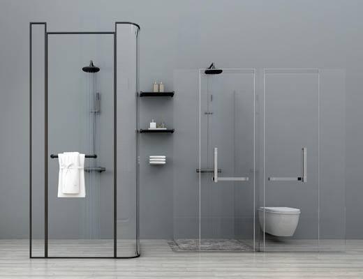 现代, 淋浴, 马桶, 置物架, 毛巾, 花洒, 淋浴蓬头