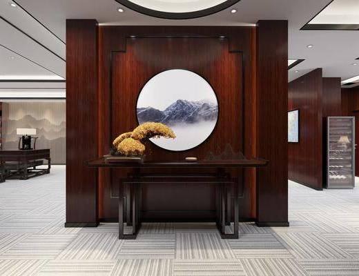 办公室, 新中式办公室, 会议室, 桌椅组合, 植物, 盆栽, 茶具