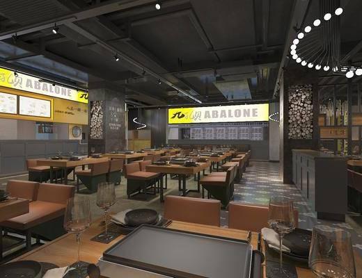 主题餐厅, 餐桌, 餐椅, 单人椅, 吊灯, 餐具, 工业风