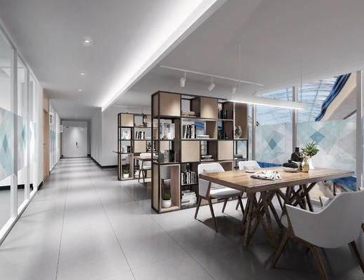 书柜, 书架, 书桌, 桌椅组合, 吊灯