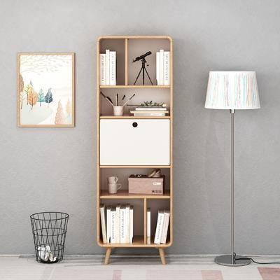书柜, 书架, 落地灯, 装饰画