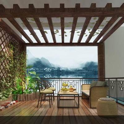 阳台, 露台, 椅子, 沙发, 茶几, 绿植