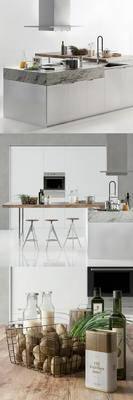 橱柜, 厨房, 现代, 北欧, 吧凳, 水龙头