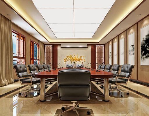 会议室, 会议桌, 桌花, 挂画, 屏幕