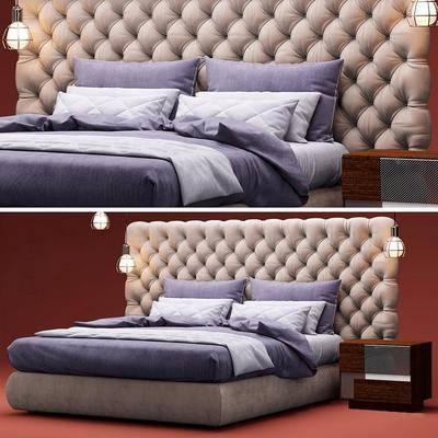 双人床, 床头柜, 吊灯, 摆件, 现代