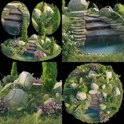 现代, 假山, 水池, 园林, 景观, 绿植, 植物