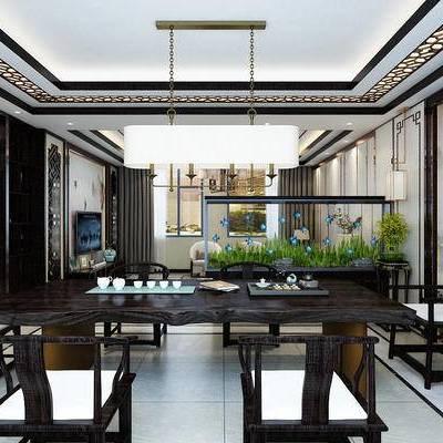 新中式整套家装场景, 新中式沙发组合, 新中式卧室, 客餐厅, 吊灯, 玄关