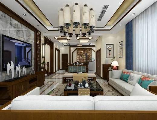 中式吊灯, 餐厅边柜, 刚琴, 中式客厅, 沙发组合, 沙发茶几组合