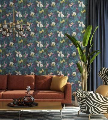 沙发组合, 沙发茶几组合, 盆栽, 吊灯, 现代沙发