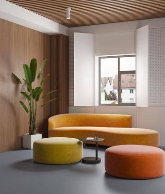 公司休息区, 沙发组合, 沙发圆凳, 异形沙发, 边几, 盆栽, 绿植植物, 现代