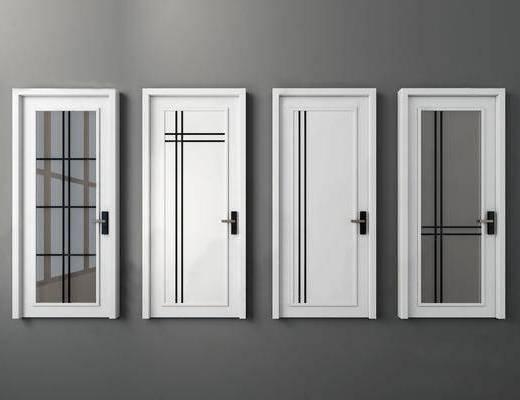 现代门卫生间门, 玻璃门, 白色烤漆门