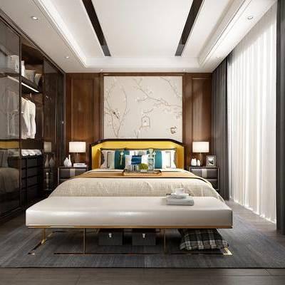 卧室, 床具, 双人床, 床尾踏, 床头柜, 台灯, 墙画, 摆件, 衣柜, 衣服, 新中式