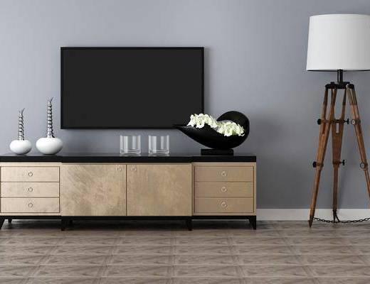 電視柜, 落地燈, 擺件組合