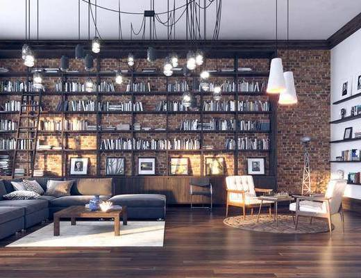 吊灯, 书柜, 书籍, 沙发组合, 茶几, 单椅