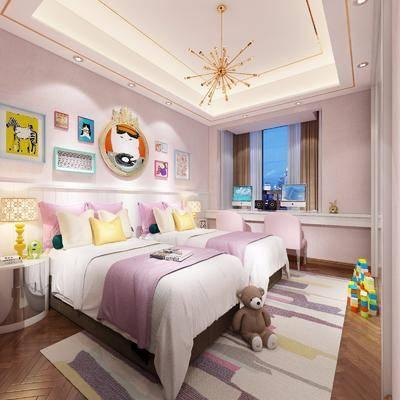 儿童房, 卧室, 床, 双人床, 书桌, 椅子, 吊灯, 台灯