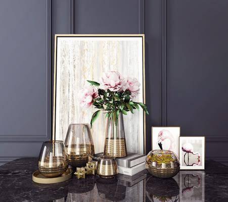 花瓶, 植物, 装饰画, 摆件组合