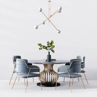 桌椅组合, 现代桌椅组合, 轻奢桌椅组合
