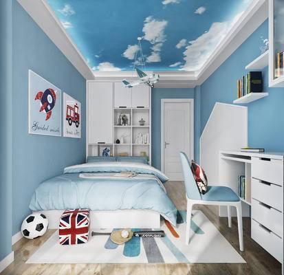 北欧, 地中海, 卧室, 儿童房, 吊灯, 玩具, 床具, 单人床, 书桌, 椅子, 单椅, 书柜, 置物柜, 书籍, 摆件, 装饰品, 挂画, 足球