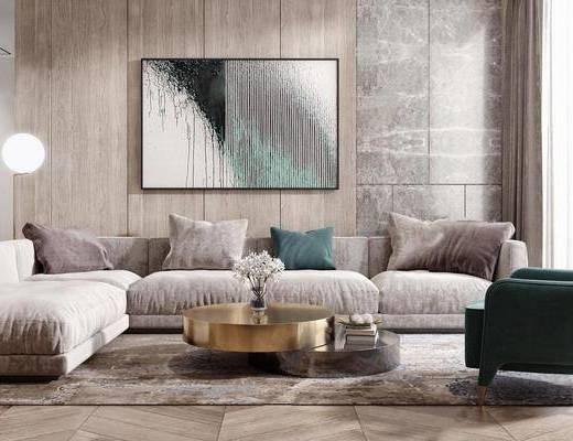 现代简约, 客厅, 沙发茶几组合, 装饰画